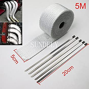 "SUNDELY® White Color Glassfiber Exhaust Pipe Header Heat Wrap Resistant Downpipe Tape Roll 2"" X 16' (5cm X 5m) + 5 Metal Ties"
