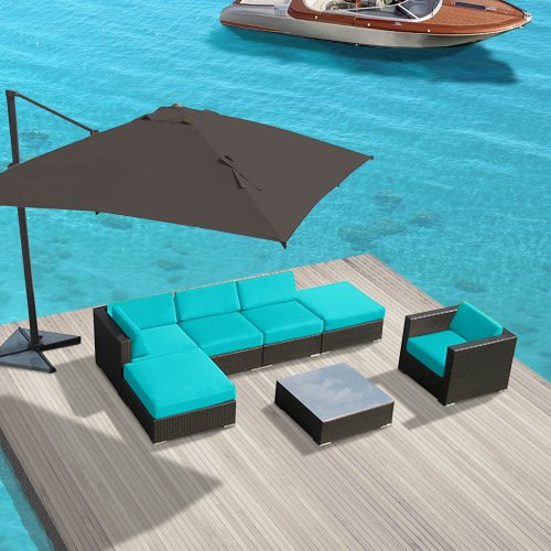 Luxxella Patio Outdoor Wicker Furniture 7-Piece Sofa Gazebo Set, Turquoise image