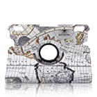 Generic Luxury Stylish Map Pattern 360 Degrees Rotating Smart Cover PU Leather Case with Stand for New Amazon Kindle Fire HDX 7(will only fit Kindle Fire HDX 7 inch Tablet 2013 ALL Model Versions- 16GB, 32GB & 64GB Wi-Fi + 4G LTE)- (Supports Auto Wake/Sleep Smart Cover Function)