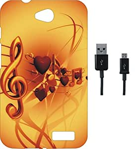 BKDT Marketing Printed Soft Back Cover Combo for Intex Aqua 4.5 E With Charging Cable