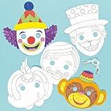 Lot de 6 Masques à colorier - Motif Cirque - Idéal pour les fêtes d'anniversaire...