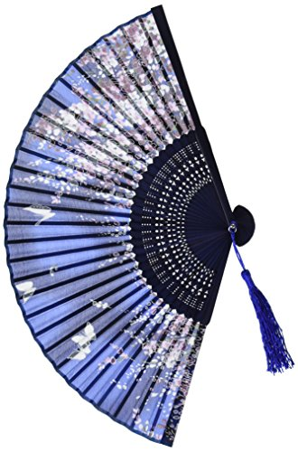 Generic 265D Lee Goal White Butterfly Pink Flowers Pattern Lace Bamboo Handheld Folding Fans For Girls Women, Blue, One Size (Butterfly Hand Fan compare prices)