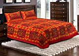 Jaipuri haat Cotton Embroidered Print Double Bed sheet with 2 Pillow Covers - King Size, Multi color
