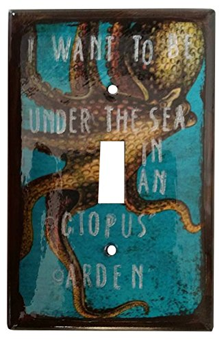 I Want to Be Under the Sea Octopus Mixed Media Light Switch Cover