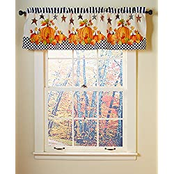Primitive Pumpkin & Stars Fall Autumn Bathroom Shower Curtain Bath Decor (valance)
