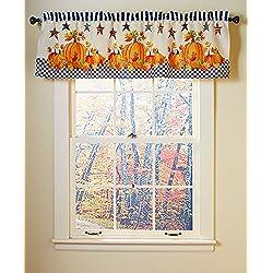 Primitive Pumpkin & Stars Fall Autumn Bathroom Shower Curtain Bath Decor (valance)