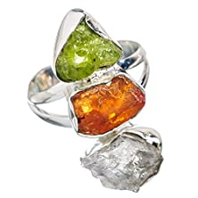 buy Ana Silver Co Rough Citrine, Peridot, Herkimer Diamond 925 Sterling Silver Ring Size 9 (Unique Handcrafted Artisan Jewelry) Ring716909