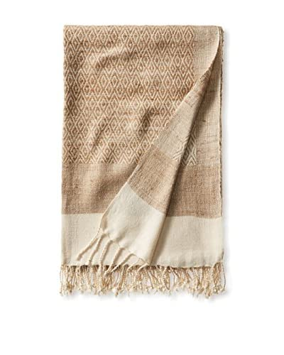 a & R Cashmere Diamond Patterned Silk Handmade Throw, Beige/Natural