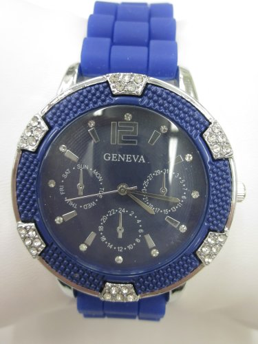 Women'S Geneva Watch Dark Blue W/ Silver Faux Chronograph Silicone Rubber Jelly Link Look Band
