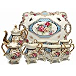 ufengke®8 Piece Creative European England Luxury Hand Painted Red And Gold Rose Flower Ivory Porcelain Ceramic Coffee Set Tea Set Tea Service For Wedding