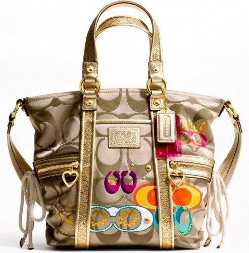 Authentic Coach Daisy Poppy C Applique Pocket Tote Convertible Shoulder Bag