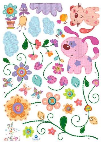 Puppies & Flowers Nursery/Kids Room Peel & Stick Wall Art Sticker Decals