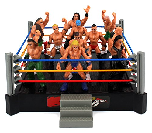 VT Mini Smack Battle Action Wrestling Toy Figure Play Set w/ Ring, 12 Toy Figures (Figure Rings compare prices)