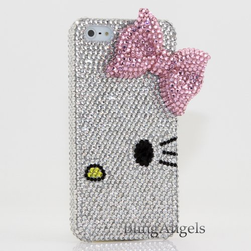 Great Price Bling iphone 5 3D Swarovski Luxury Crystal Diamond Case Cover Faceplate Hello Kitty with Light Pink Bow Design (100% Handcrafted by BlingAngels® with Carry Pink Pouch)