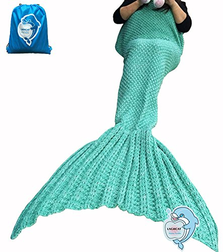 LAGHCAT Mermaid Tail Blanket Knit Crochet and Mermaid Blanket for Adult,Sleeping Blanket (71