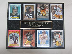 Pittsburgh Steelers NFL ALL TIME GREATS 8 Card Plaque by J & C Baseball Clubhouse