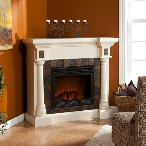 Home Electric Fireplace, Realistic Flickering Flame, Ivory Earth-Tone Faux Slate