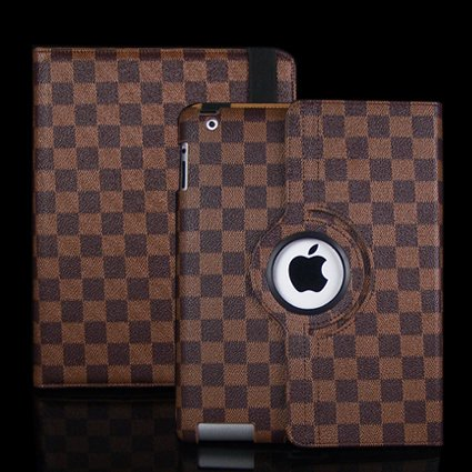 Ctech 360 Degrees Rotating Stand (Brown) Stylish Grid Plaid Leather Case for iPad 2 2nd generation with Smart Cover Wake/Sleep Capability