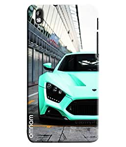 Omnam Skyblue Sports Car Front Effect Printed Designer Back Cover Case For HTC Desire 816