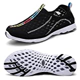 Mxson Men's Slip On Sneaker Mesh Casual Sports Walking Beach Aqua Swimming Pool Water Shoes, Black, 10.5 D (M) US