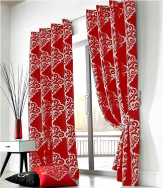 Red Silver Curtains - Eyelet Zurich - 90'' x 90''