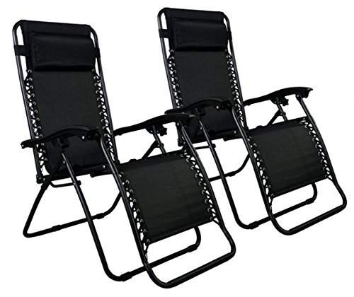 New Zero Gravity Chairs Case Of 2 Lounge Patio Chairs Outdoor Yard Beach O62 - Black Color