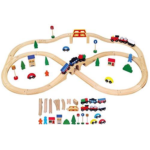 New Classic Toys - 1917 - Modélisme Ferroviaire - Train En Bois - 49 Pièces
