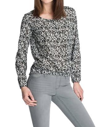ESPRIT Damen Bluse, geblümt 123EE1F027, Gr. 42 (XL), Schwarz (001 BLACK)