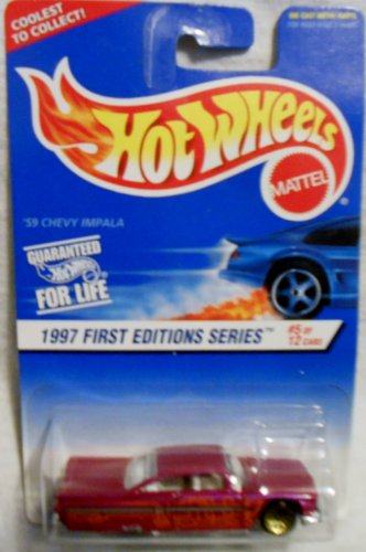 Hot Wheels 1996-5 of 12 '59 Chevy Impala 1:64 Scale - 1