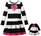 Dollie & Me Big Girls Striped Dress with Sequin Heart
