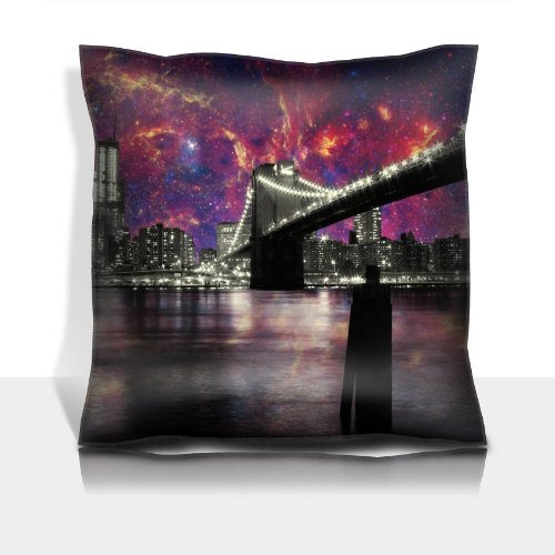 San Francisco Night California Usa Bridge Sky 100% Polyester Filled Comfort Square Pillows Customized Made To Order Support Ready Premium Deluxe 17 1/2 Inch X 17 1/2 Inch Liil Graphic Background Covers Designed Color Definition Quality Simplex Knit Fabric front-907218