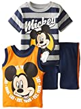 Disney Baby-Boys Infant 3 Piece Mickey Mouse Jersey Muscle Top
