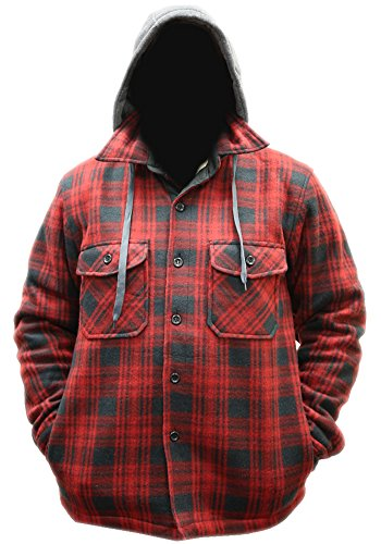 Woodland Supply Co. Men's Plaid Hooded Button Up Sherpa Lined Shirt Jacket,X-Large,Red/black (Red And Black Hooded Flannel compare prices)