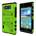 LG Optimus Showtime L86C L86G Apple Green Black Tough Armor Skin Case and Naked Shield Invisible Screen Protector