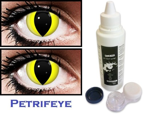 Yellow Cat (2 lenses in pack) Fashion Halloween Contact Lenses By Petrifeye Eyes With Free 120ml Solution And Blue/White Soaking Case