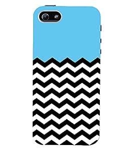 Printvisa Premium Back Cover Blue And Black Zigzag Stripes Design For Apple iPhone 5::Apple iPhone 5S