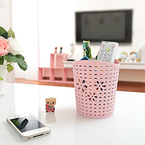 "HOKIPO 1 Pc.Multipurpose ""HOKIPO"" Brand Plastic Storage Hanging Bucket with Woven Pattern and Rotating Hook Color: Pink"