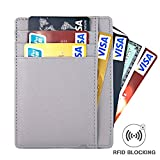 RFID Blocking Leather Slim Wallet, Men's Genuine Leather RFID Blocking Minimalist Money Clip Front Pocket Wallet, Card Holder