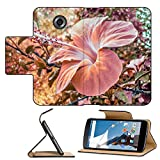 Luxlady Premium Motorola Google Nexus 6 Flip Pu Leather Wallet Case IMAGE ID: 34487176 Beautiful digital edited and color manipulation pink tones floral photo with hibiscus flower as the main