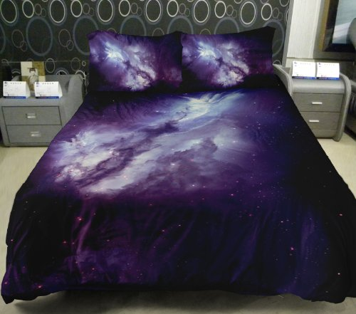 Anlye Galaxy Quilt Cover Galaxy Duvet Cover Galaxy Sheets Space Sheets Outer Space Bedding Set With 2 Matching Pillow Covers (King) front-765124