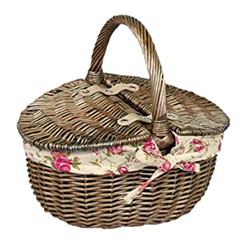 Small Antique Wash Willow Wicker Oval Picnic Basket with Garden Rose Lining New 2016 by Willow & Avon