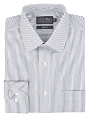2in Longer Cotton Rich Slim Fit Easy to Iron Twill Striped Shirt