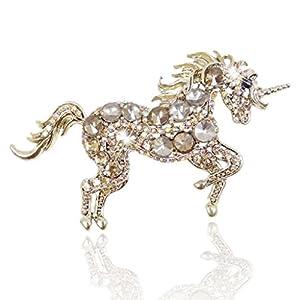 Gold-Tone Running Unicorn Brooch Brown Austrian Crystal N02281-6