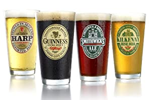 ARC International Luminarc Irish Beer Label Pub Beer Glass, 16-Ounce, Set of 4 by Arc International
