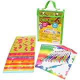 Stencil Art Set for Kids-Large Drawing Set by EasyPeasy-An Educational & Creative Awesome Stencil Art & Craft Set for Boys and Girls, 200+Shapes, Glitter Pens, Paper, Travel, Toy & Gift Kit