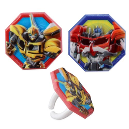 Transformers Birthday Cake Toppers Cupcake Rings Party