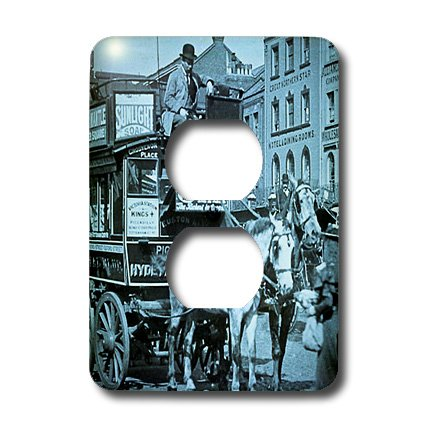 Lsp_8491_6 Scenes From The Past Magic Lantern Slides - Kings Cross London Street Tram Taxi Cyan - Light Switch Covers - 2 Plug Outlet Cover