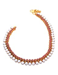 MOS Red Stones & Large Pearls Payal