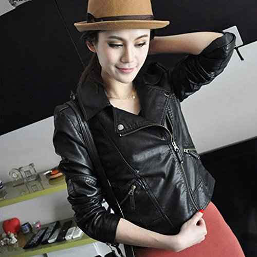 Etosell Vintage Women's Slim Biker Motorcycle PU Leather Zipper Jacket Punk Rock