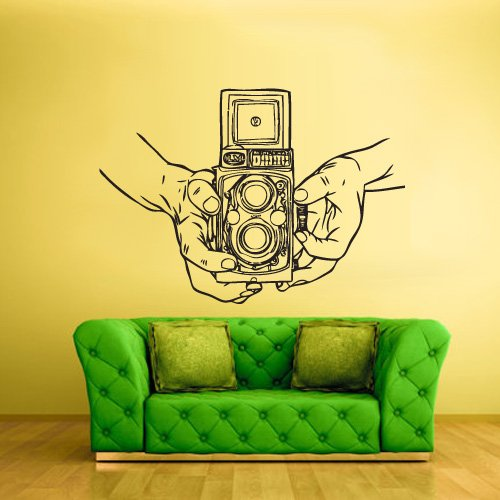 Wall Decal Vinyl Sticker Decals Photo Camera Canon Nikon Hands Retro Old School (Z2453)